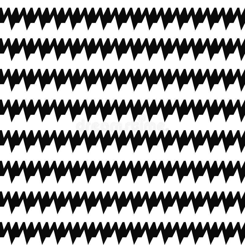 Seamless horizontal sharp edges lines pattern. Repeated black jagged stripes on white background. Zigzag motif. stock illustration