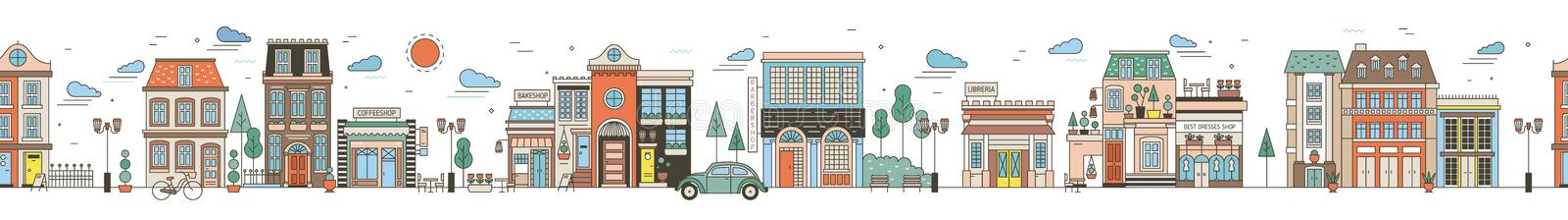 Seamless horizontal urban landscape with city street. Cityscape with beautiful buildings, residential houses, shops vector illustration
