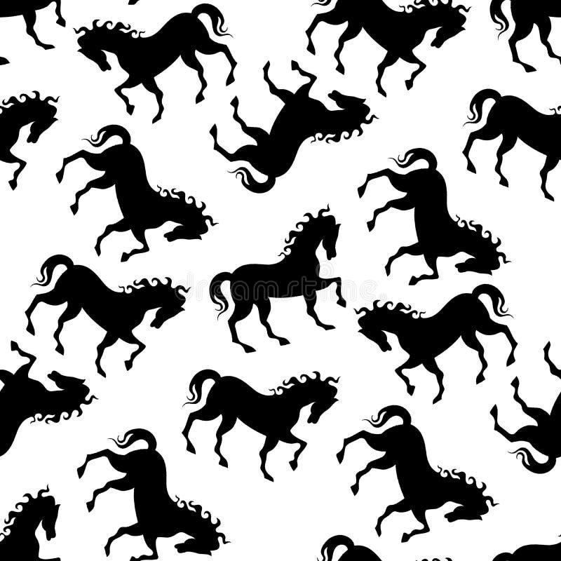 Seamless horse black white pattern royalty free illustration