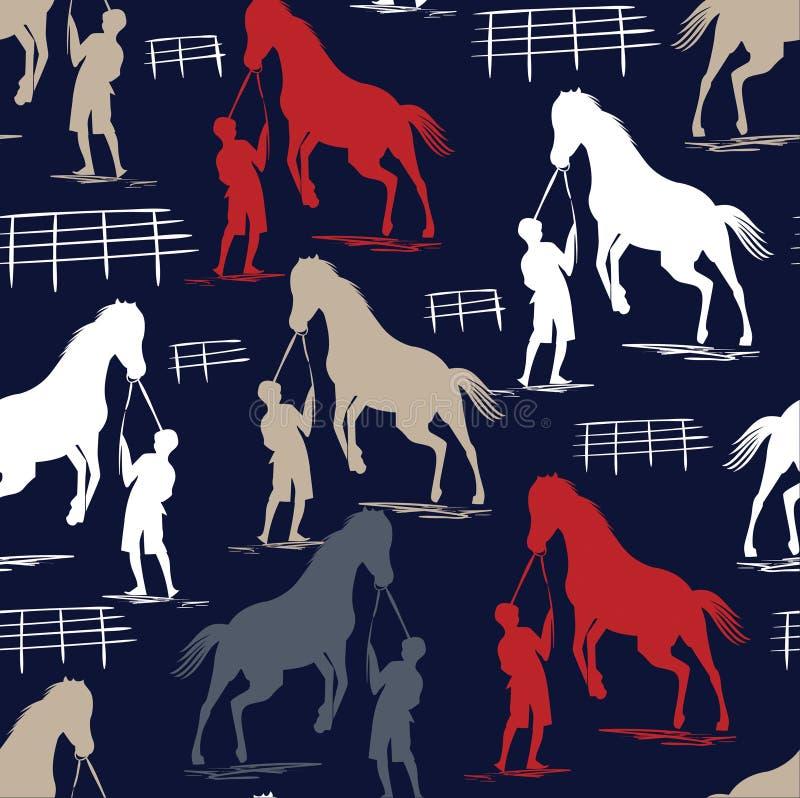 Seamless Horse pattern on blue navy vector illustration
