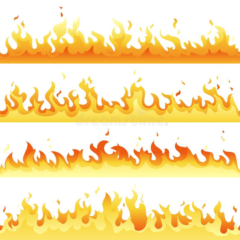 Seamless hot fire flame set, danger fire light collection isolated on white background. Vector red and yellow flame vector illustration