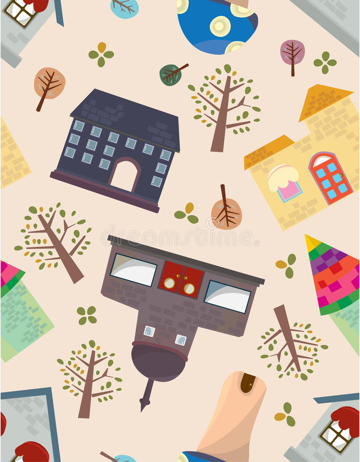 Seamless House Pattern Royalty Free Stock Images