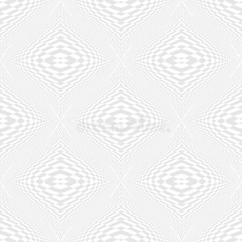 Seamless illusion geometric pattern. White and gray distorted texture. Repeatable creative shapes. Unusual symmetry stock illustration