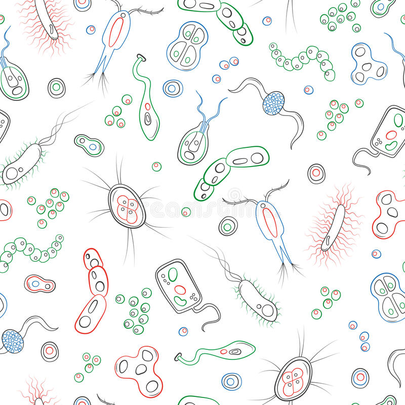 Seamless illustration with contour images of bacteria, germs and viruses , simple colored contour icons on white background vector illustration