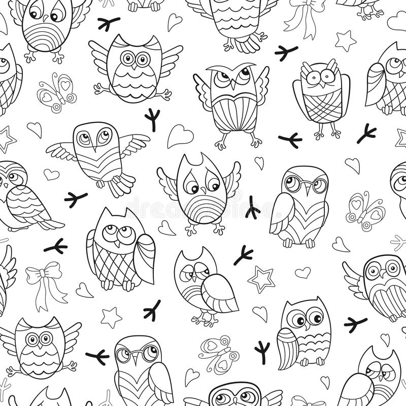 Seamless illustration with contour images of cartoon owls. Seamless pattern with contour images of cartoon owls , dark outline on a white background stock illustration