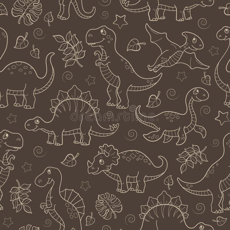 Seamless illustration with dinosaurs and leaves, contoured animals beige outline on a brown background vector illustration