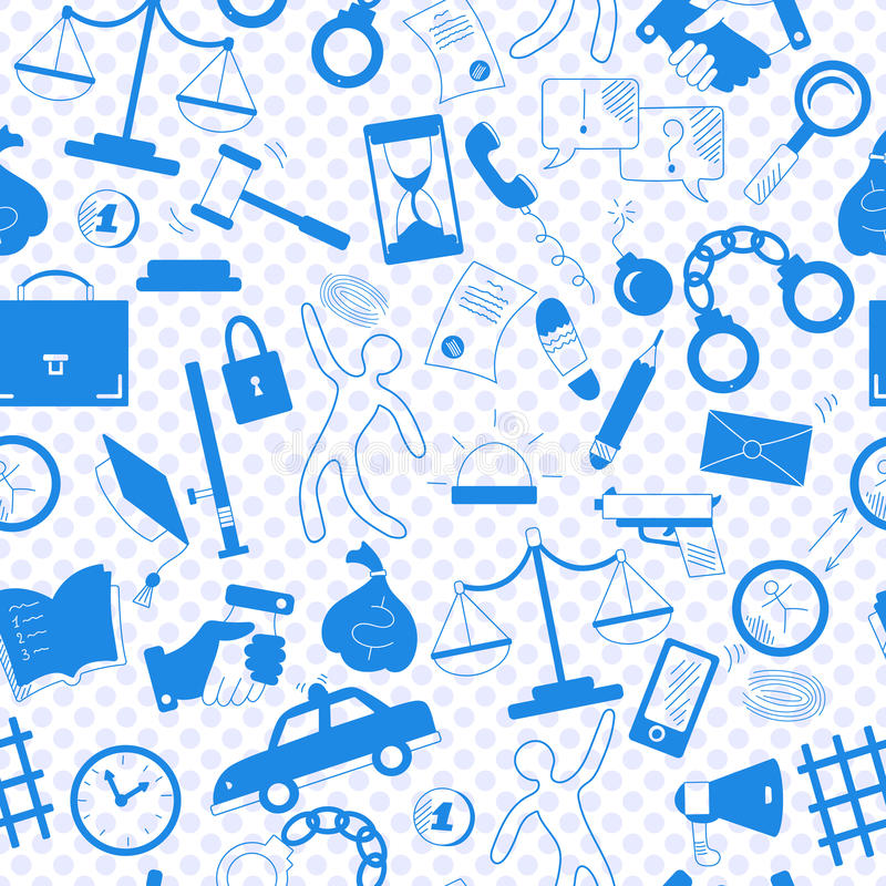 Seamless illustration with hand drawn icons. Seamless pattern with hand drawn icons on the theme of law and crime, a blue silhouettes of icons on the background stock illustration