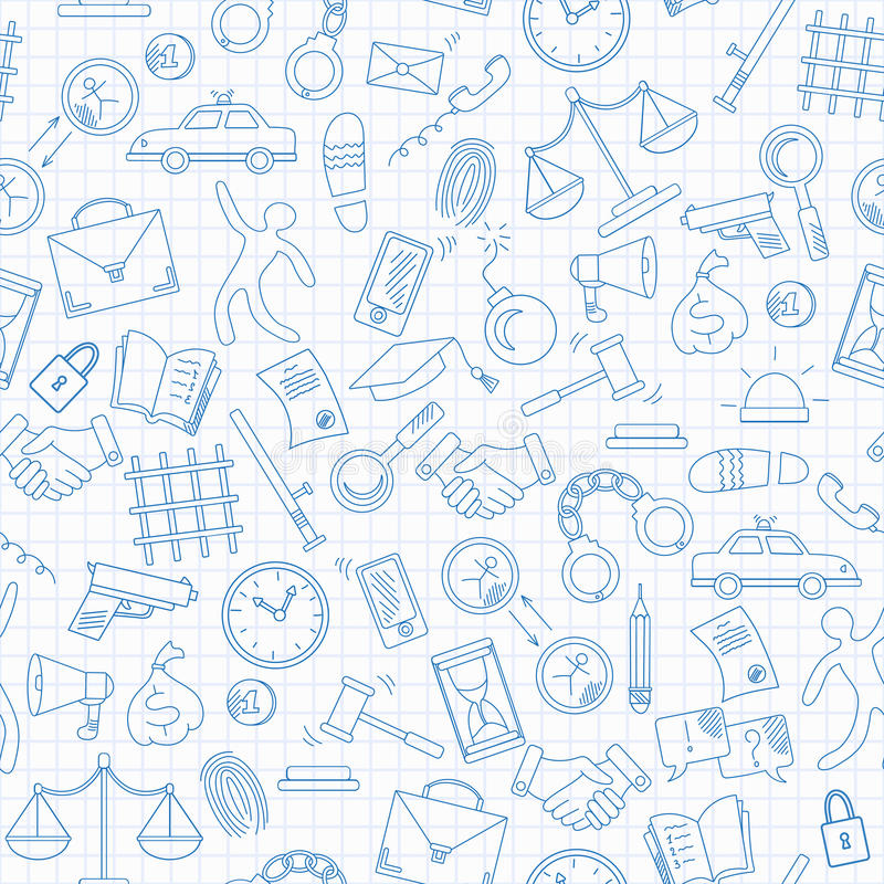Seamless illustration with hand drawn icons on the theme of law and crimes, blue contour icons on the clean writing-book sheet i. Seamless pattern with hand vector illustration
