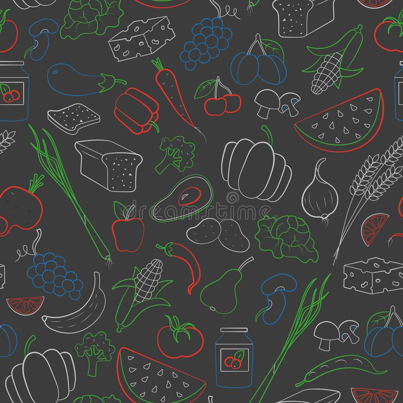Free Seamless Illustration On The Theme Of Vegetarianism, Grocery Icons, Simple Contour Icons Are Drawn With Colored Chalks On The Dark Royalty Free Stock Photos - 125736998