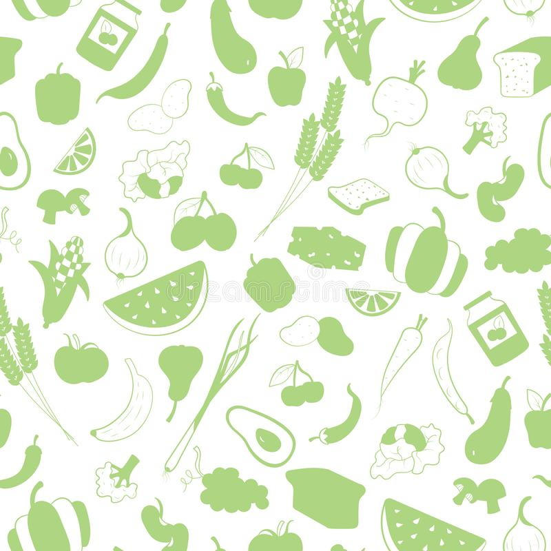 Free Seamless Illustration On The Theme Of Vegetarianism, Grocery Icons, Simple Green Silhouettes Icons On A White Background Stock Photo - 128221110