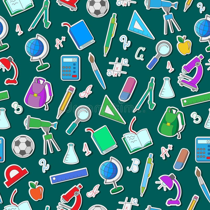 Seamless illustration with simple icons on a theme school on green background. Seamless pattern on the theme of the school, a simple hand-drawn color icons on royalty free illustration