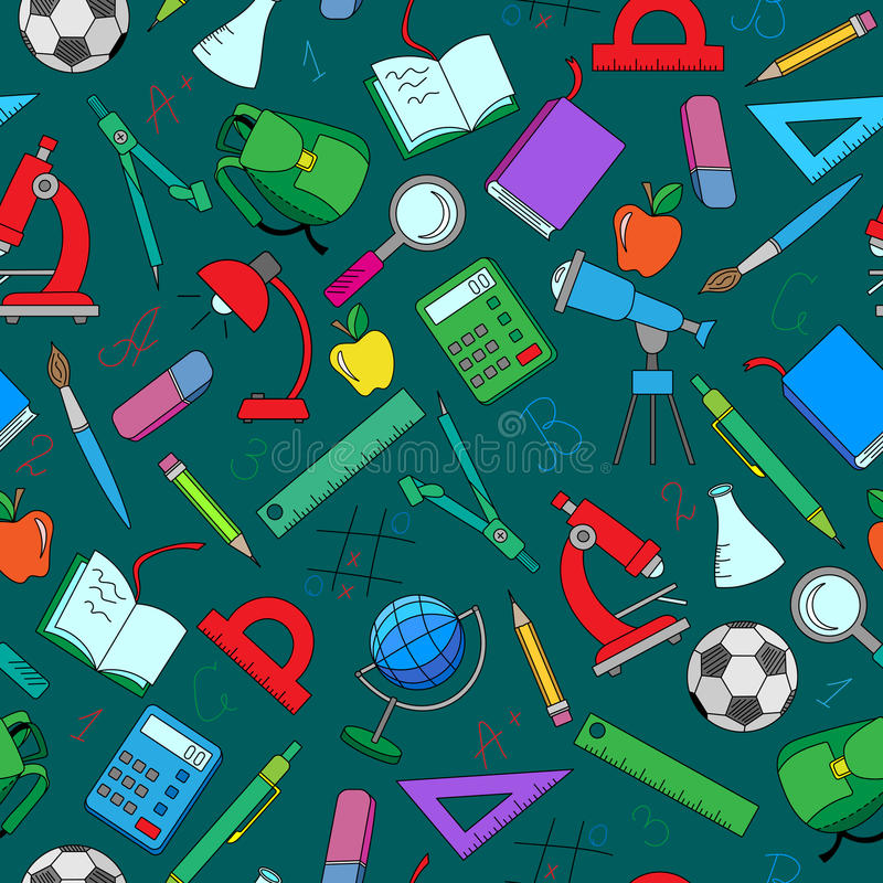 Seamless illustration with simple icons on a theme school on green background. Seamless pattern on the theme of the school, a simple hand-drawn color icons on stock illustration
