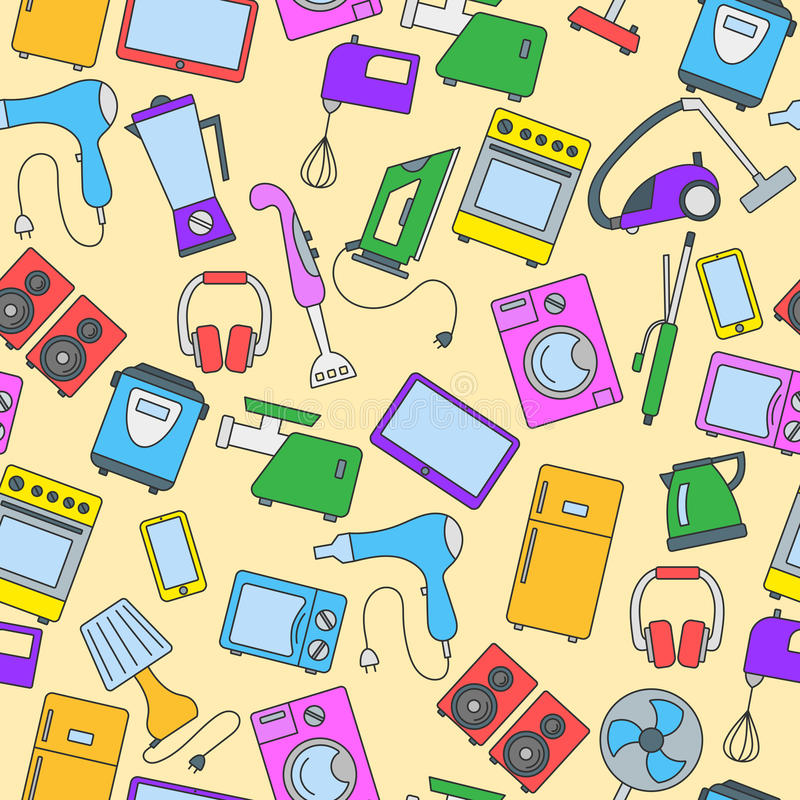 Seamless illustration with a simple icons on the topic of household appliances, a colored icons on a yellow background royalty free illustration