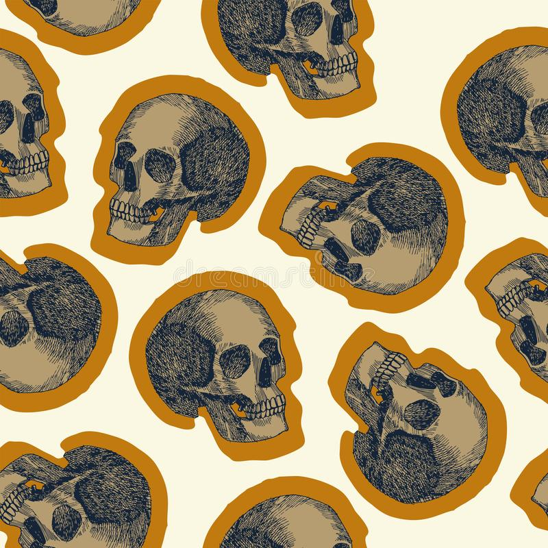 Seamless skull pattern beige background stock illustration