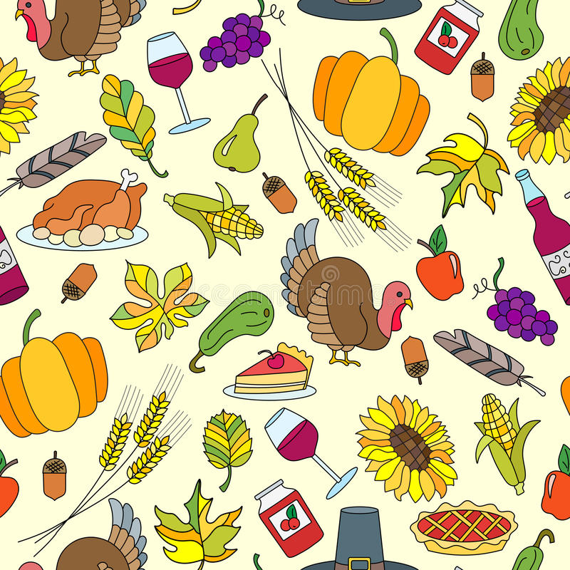 Seamless illustration of thanksgiving with simple icons on a theme of the holiday stock illustration