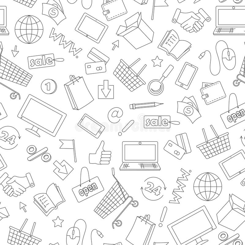 Seamless illustration on the theme of online shopping and Internet shops, dark contour icons on white background. Seamless pattern on the theme of online vector illustration
