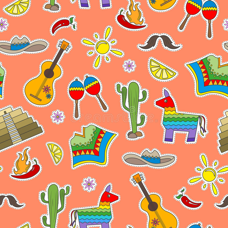 Seamless illustration on the theme of recreation in the country of Mexico, colorful patches icons on a orange background. Seamless pattern on the theme of royalty free illustration