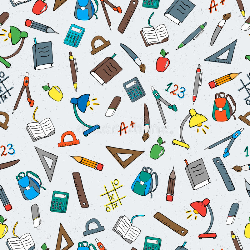 Seamless illustration on the theme of school, colored simple icons on a light background. Seamless pattern on the theme of the school, a simple hand-drawn color royalty free illustration