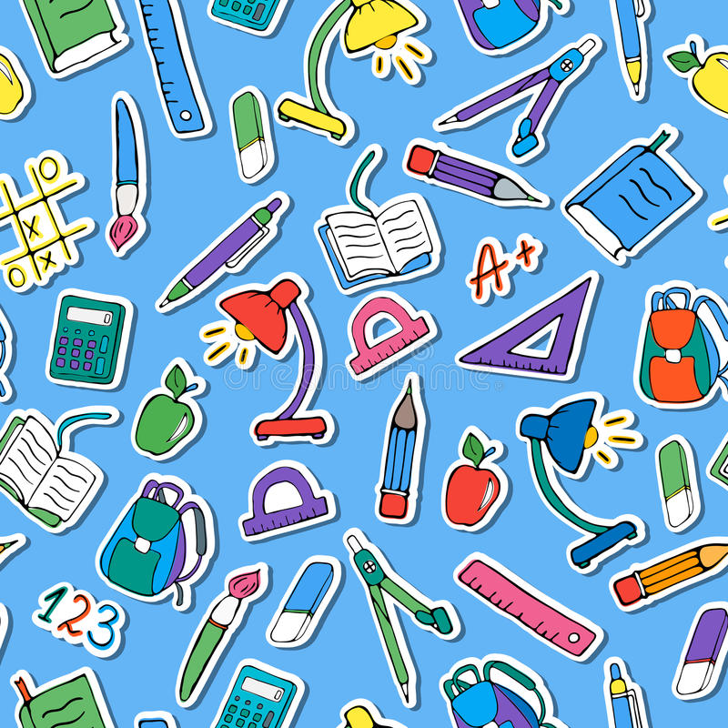 Seamless illustration on the theme of the school, a simple hand-drawn color icons on blue background. Seamless pattern on the theme of the school, a simple hand vector illustration