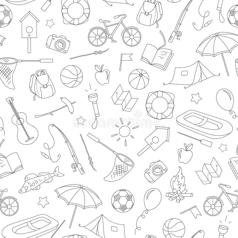 Seamless illustration on the theme of summer camp and vacations, simple contour icons, black contour on white background. Seamless pattern on the theme of summer vector illustration