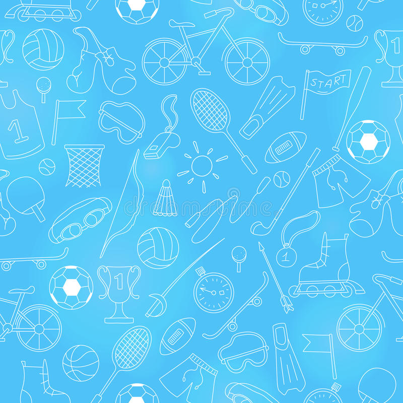 Seamless illustration on the theme of summer sports, simple icons bright outline on a blue background. Seamless pattern on the theme of summer sports, simple vector illustration