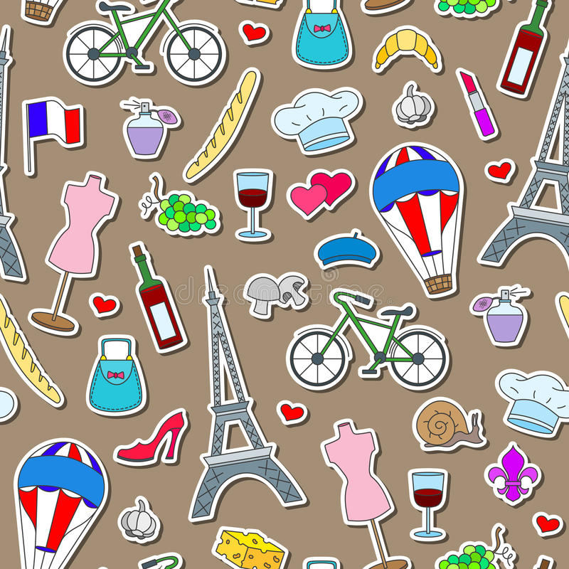 Seamless illustration on the theme of travel in the country of France, simple icons stickers, colored signs on brown background. Seamless pattern on the theme of vector illustration