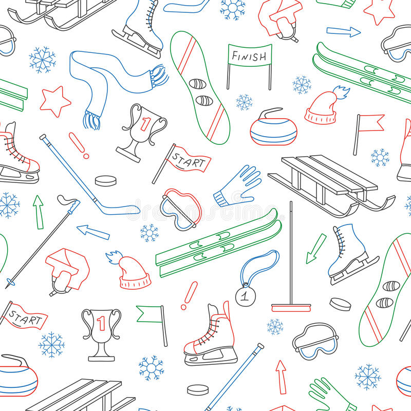 Seamless illustration on the theme of winter sports, simple colored outline on a white background. Seamless pattern on the theme of winter sports, simple colored stock illustration