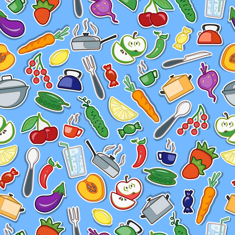 Seamless illustration on the topic of food and kitchen accessories icons on blue background. Seamless pattern with simple icons on a theme kitchen accessories royalty free illustration