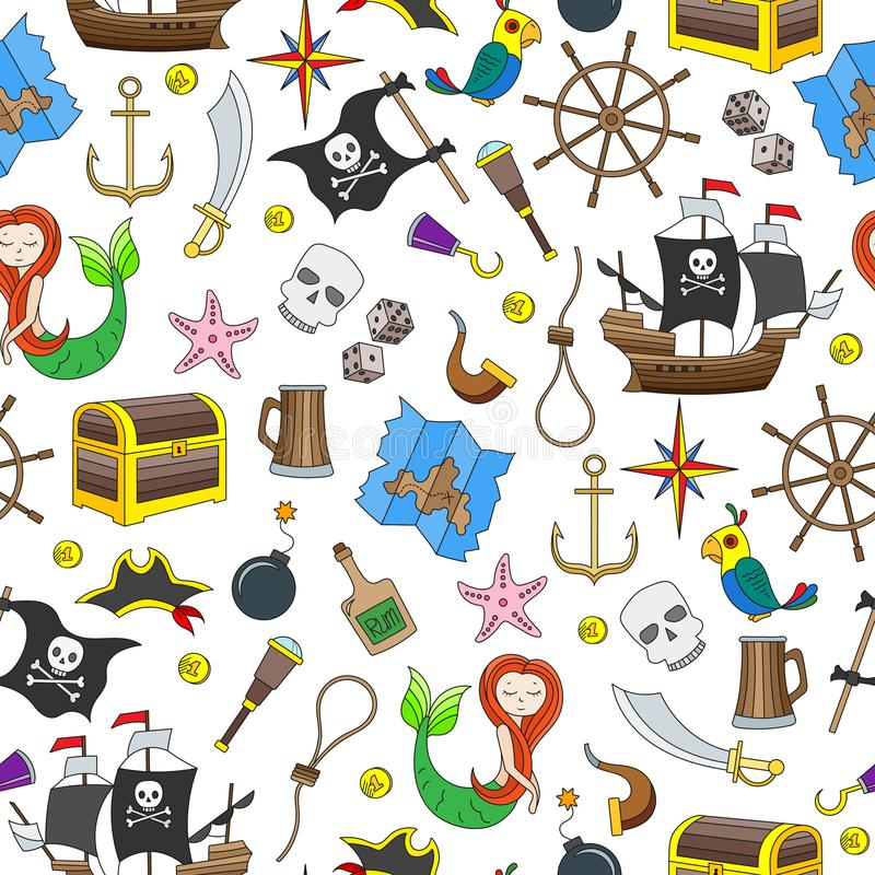 Seamless illustration of the topic of piracy and Maritime travel color icons on white background royalty free illustration