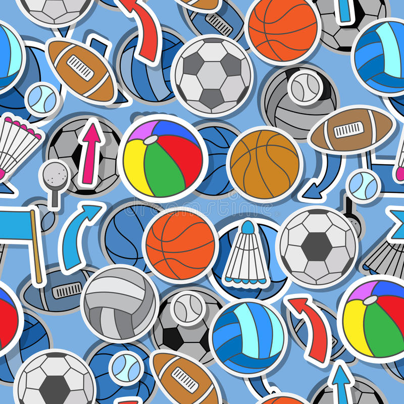Seamless illustration of various sports balls, arrows and flags vector illustration