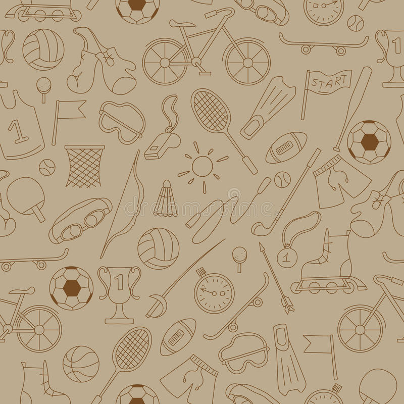 Seamless image with simple icons on the theme of summer sports royalty free illustration