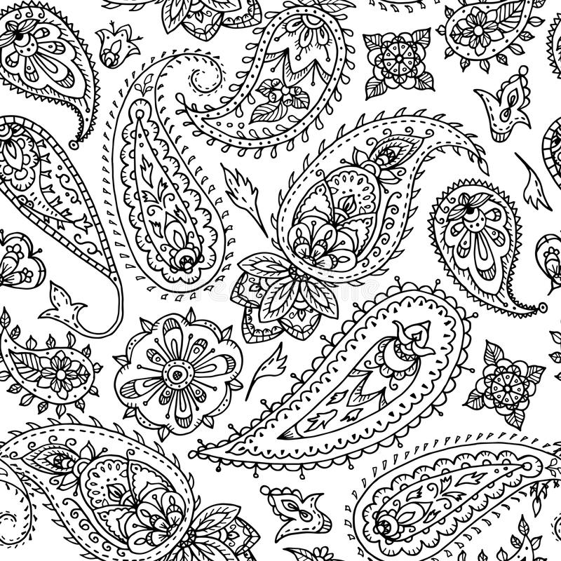 Seamless Indian Paisley Pattern. Black And White Illustration Fo ...