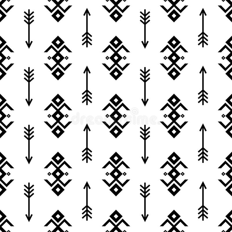 Seamless Indian pattern vector arrows and USA Native American type geometric ornaments black and white background design retro vin royalty free illustration