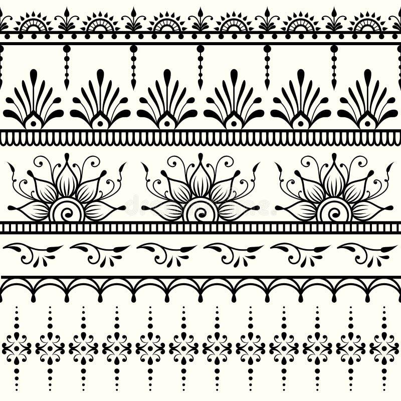seamless indisk modell Mehndi design royaltyfri illustrationer