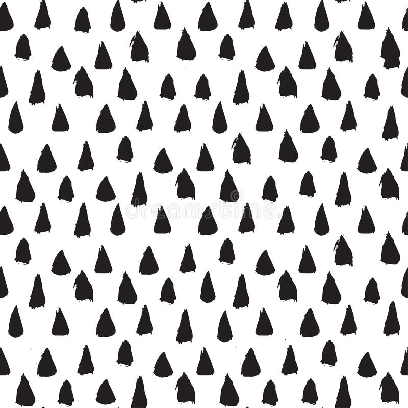 Seamless ink brush painted pattern with black triangles. Vector illustration. vector illustration
