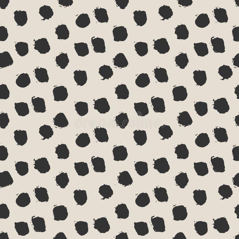 Seamless ink brush painted polka dot pattern. vector illustration