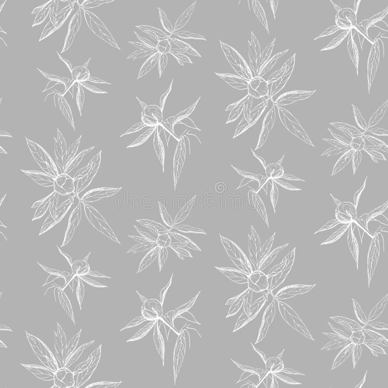 Seamless ink peony flower pattern on gray backdrop. Engraved vintage peony wallpaper. elegant white line peony on gray background. Pattern of free hand outline royalty free illustration