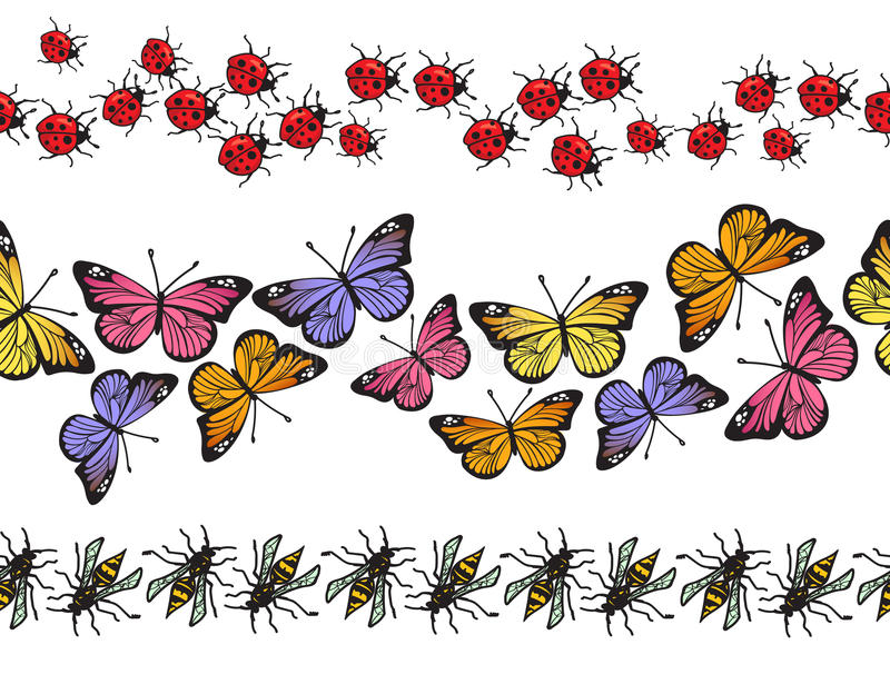 Download Seamless Insect Pattern Border Set. Vector Stock Illustration - Image: 92599331