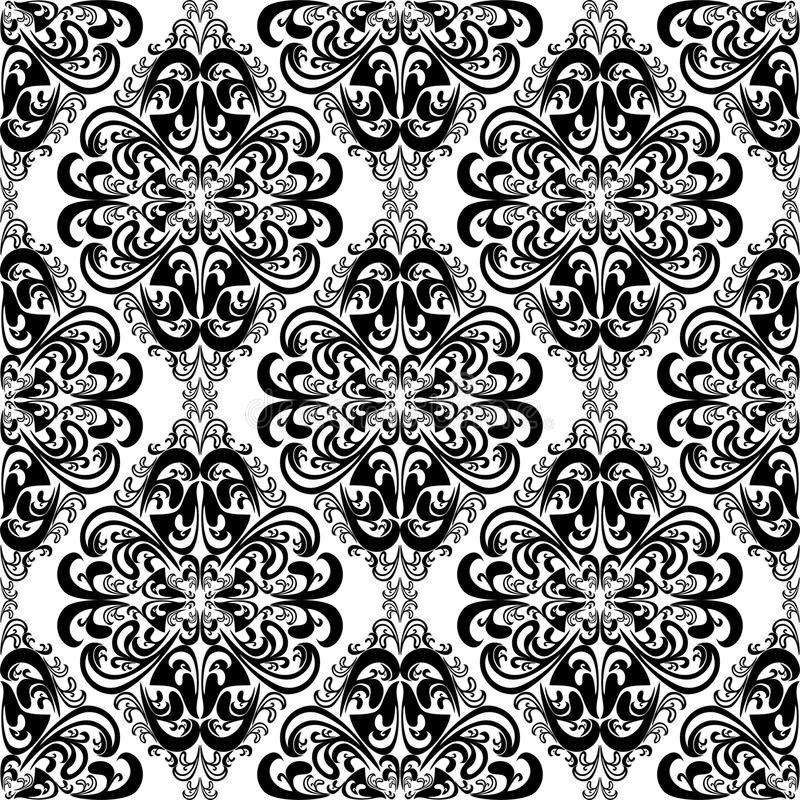 Seamless intricate damask wallpaper for design black and for Black white damask wallpaper mural