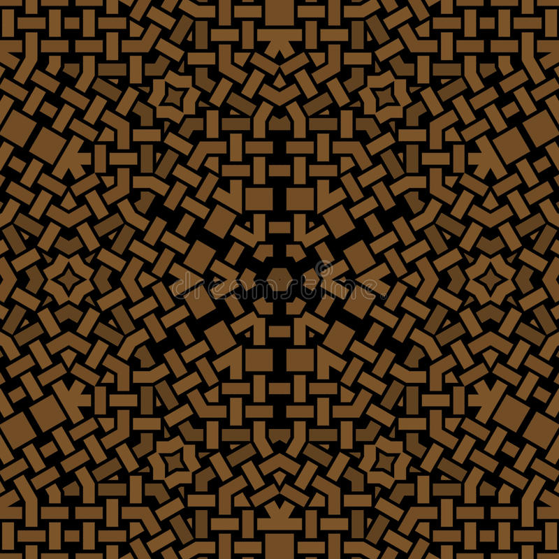 Seamless intricate star pattern gold brown black vector illustration