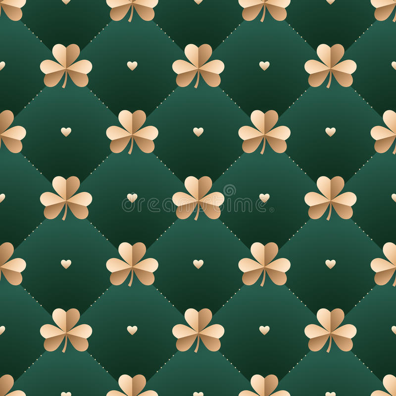 Seamless irish gold pattern with clover and heart on a dark green background. Pattern for St. Patrick Day. Vector Illustration. stock illustration