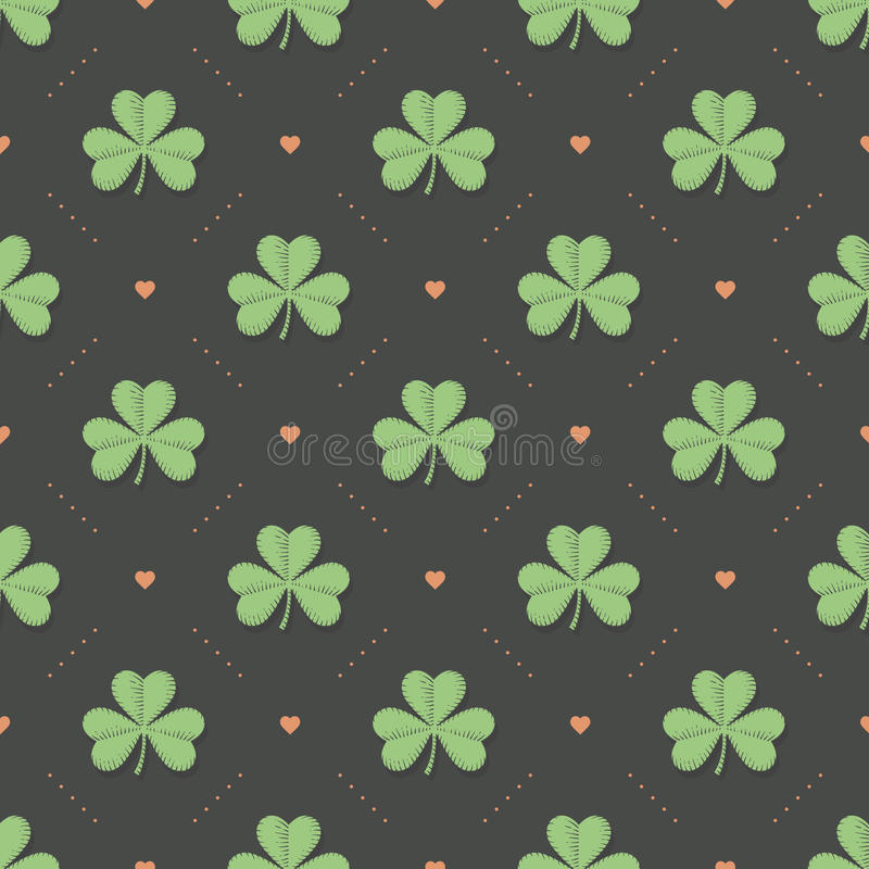 Seamless irish green pattern with clover and heart on a dark gray background. Pattern for St. Patrick Day. Vector Illustration stock illustration