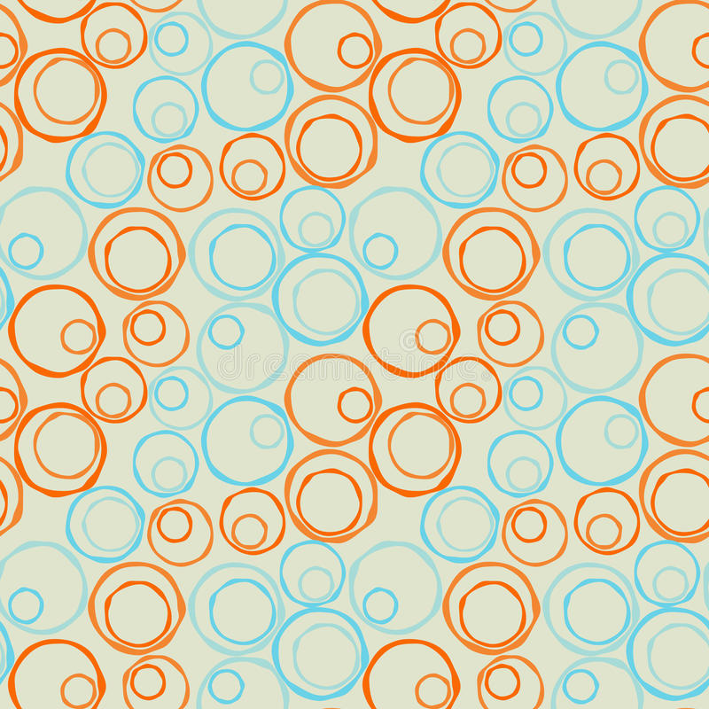 Seamless irregular circles diagonal. Blue and orange irregular circles on a diagonal distribution. Seamless Tile vector illustration