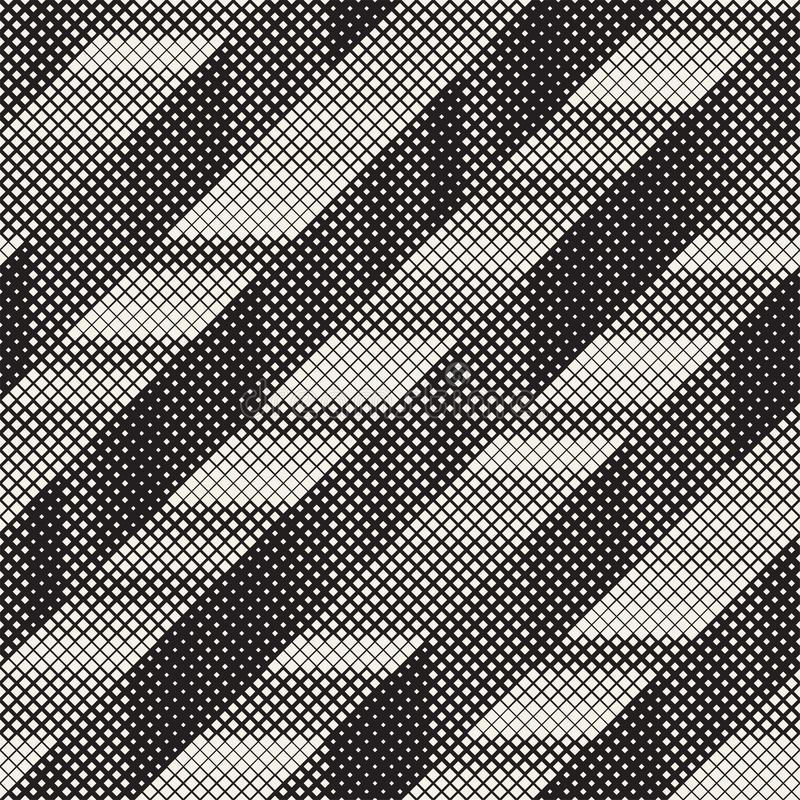 Seamless Irregular Geometric Pattern. Abstract Black and White Halftone Background. Vector Chaotic Rectangles Zigzag stock illustration
