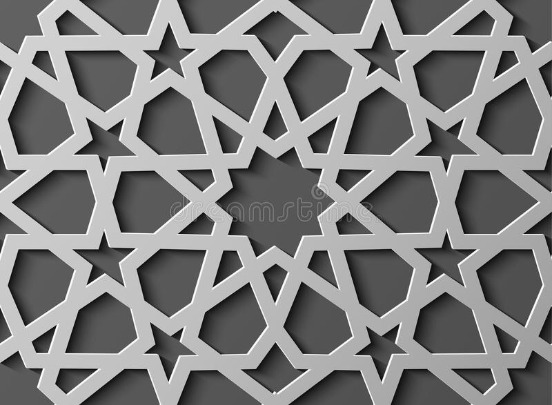 Seamless islamic pattern 3d . Traditional Arabic design element. Seamless islamic pattern 3d . Traditional Arabic design stock illustration