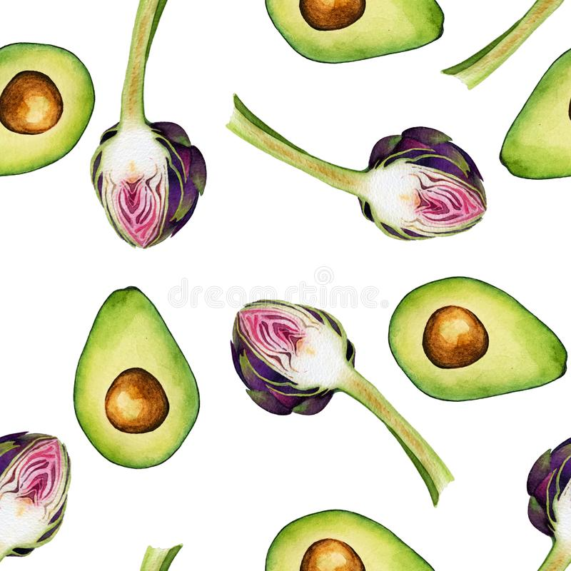 Seamless isolated watercolor avocado and artichoke pattern on white background royalty free illustration