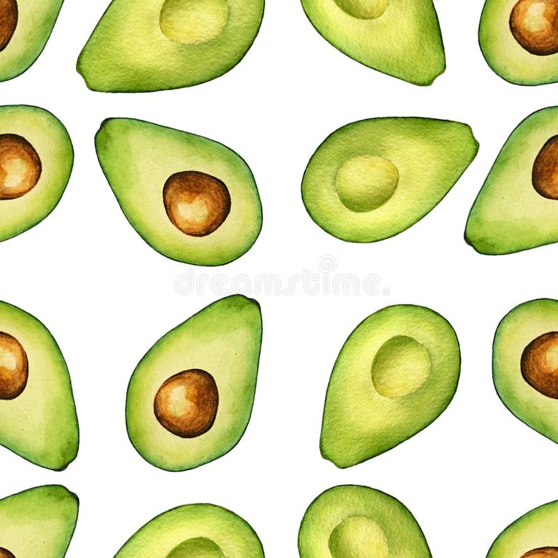 Seamless isolated watercolor avocado pattern on white background stock illustration