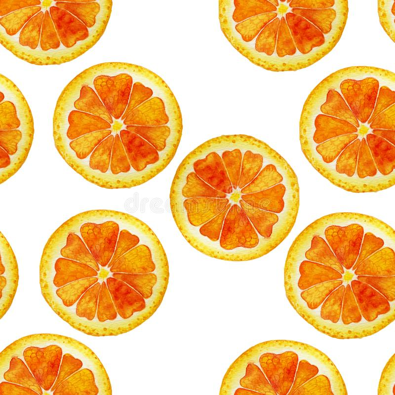 Watercolor orange pattern. Seamless isolated watercolor orange slices pattern on white background royalty free illustration