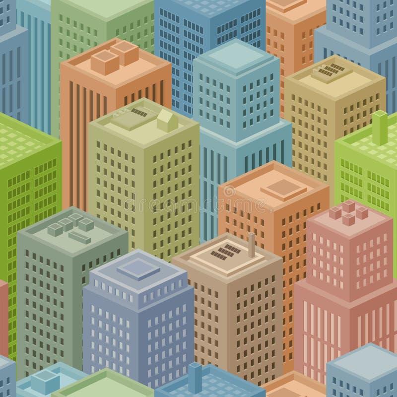 Seamless Isometric City Background stock illustration