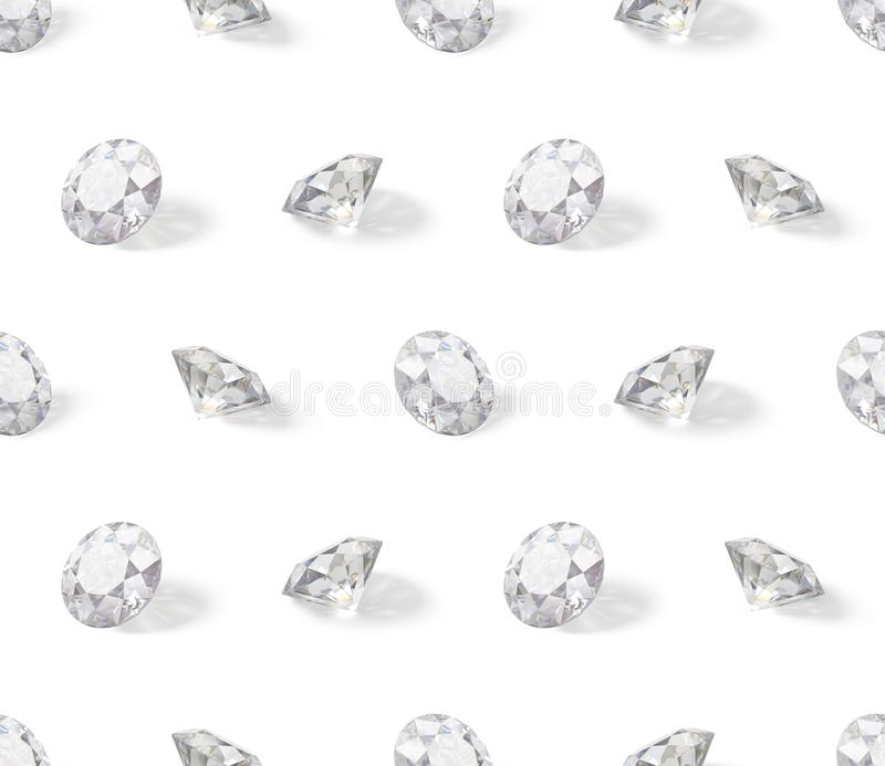 Seamless isometric pattern of diamonds. 3d image. White background royalty free illustration